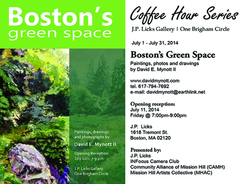 flyer - davids art show at boston green spaces at jp licks brigham circle
